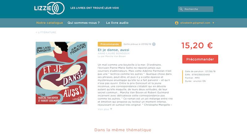 Capture d'écran d'une fiche produit du site Lizzie