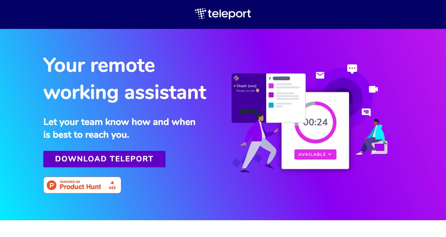 Page d'accueil de Teleport